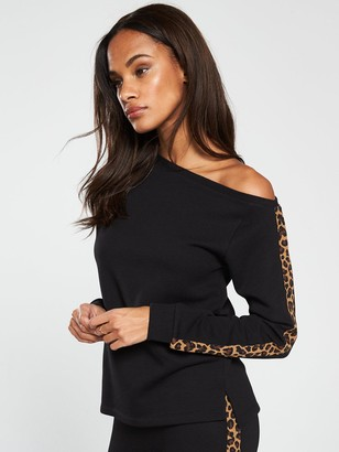 Very Leopard Trim Slouchy Top Co Ord