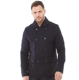 French Connection Mens Double Breasted Peacoat 2 Jacket Marine