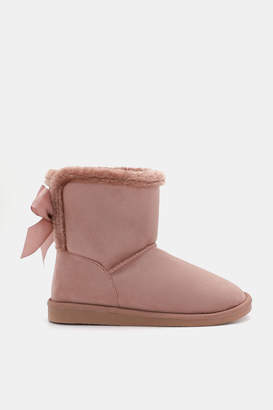 Ardene Faux Suede Boots with Bow - Shoes |