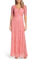Ellen Tracy Women's Lace Faux Wrap Gown
