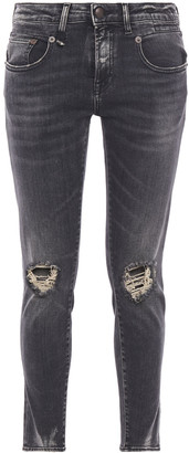 R 13 Aiden Distressed Mid-rise Skinny Jeans