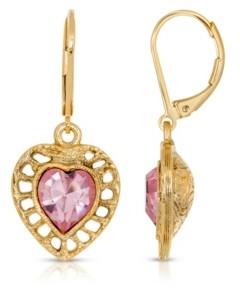 2028 14K Gold Dipped Swarovski Crystal Heart Drop Earrings