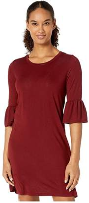 Stetson 3922 Rayon Spandex Knit T-Shirt Dress (Wine) Women's Clothing
