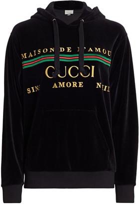 Gucci Chenille Logo Velvet Hoodie
