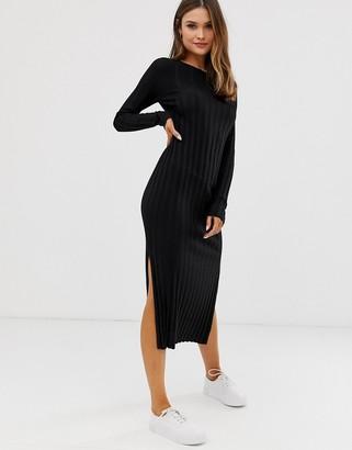 Asos Design DESIGN fine knit ribbed midi dress in recycled blend-Black