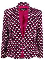 Nine West Women's Printed Clasp-Front Jacket (2, Ruby Pink Multi)