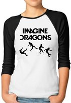 Agongda T-shirts Women's Smoke Mirrors Imagine Dragons Rock Band Logo 3/4 Sleeve Raglan T-Shirt