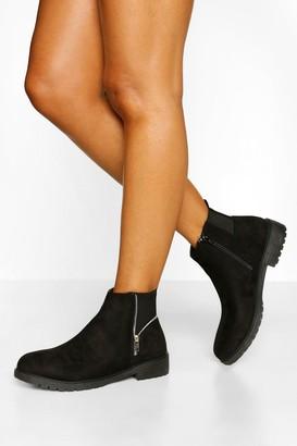 boohoo Wide Fit Zip Side Detail Chelsea Boots