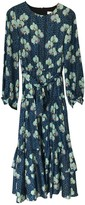 Borgo de Nor Turquoise Silk Dress for Women