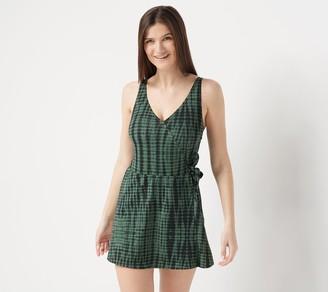 Denim & Co. Beach V-Neck Wrap Front Swim Dress