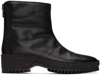 Kenzo Black Grained Leather Chelsea Boots