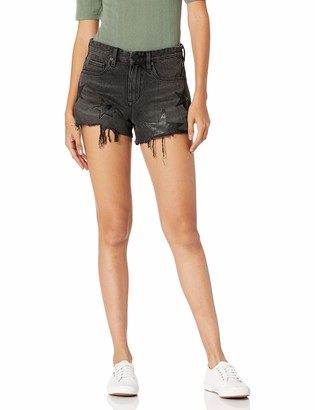 Blank NYC Women's The Barrow HIGH Rise Shorts Washed Out Black
