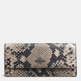 Coach Soft Wallet In Python Embossed Leather