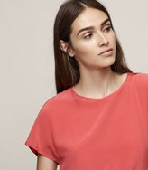 Reiss Tia - Silk Front T-shirt in Red, Womens