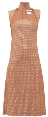 Bottega Veneta Crystal-embellished Jacquard-knit Midi Dress - Nude