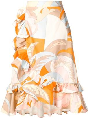 Emilio Pucci Acapulco Print Ruffled Midi Skirt