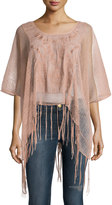 Romeo & Juliet Couture Embroidered Fringe-Trim Tee, Pink