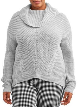 No Boundaries Juniors' Plus Cable Knit Cowl Neck Sweater