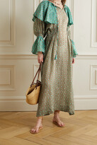 Thumbnail for your product : Yvonne S Ruffled Printed Linen Maxi Dress - Green