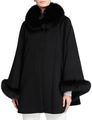 Sofia Cashmere Fur-Trim Neck and Cuff Cape