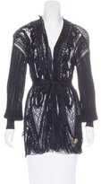Roberto Cavalli Lace-Trimmed Belted Cardigan