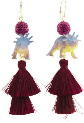 Handmade In Usa Dino Silk Tassel Earrings