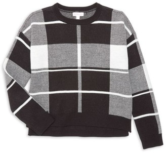Design History Girl's Plaid Crewneck Sweater