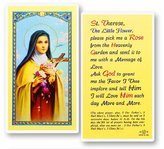 Gifts by Lulee Blessed By His Holiness Pope Francis St Therese the Little Flower Laminated Holy Card