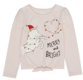 Epic Threads Little Girls Long Sleeve Unicorn Christmas Graphic Tee