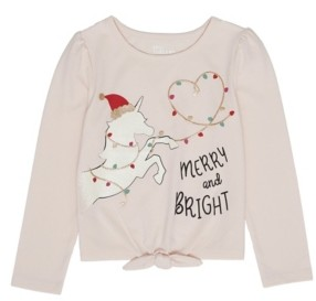 Epic Threads Toddler Girls Long Sleeve Unicorn Christmas Graphic Tee