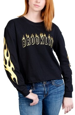 Rebellious One Juniors' Brooklyn Long-Sleeve Graphic T-Shirt