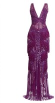 ZUHAIR MURAD Fringed Blossom V-Neck Gown