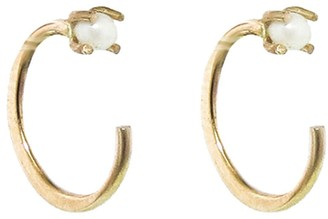 Melissa Joy Manning Tiny Pearl Hug Hoop Earrings - Yellow Gold