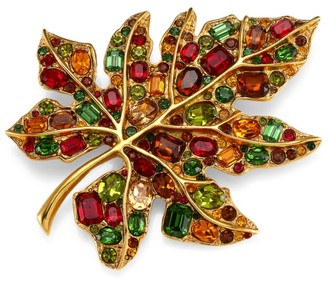 Kenneth Jay Lane 22K Goldplated & Multicolor Glass Stone Large Leaf Pin