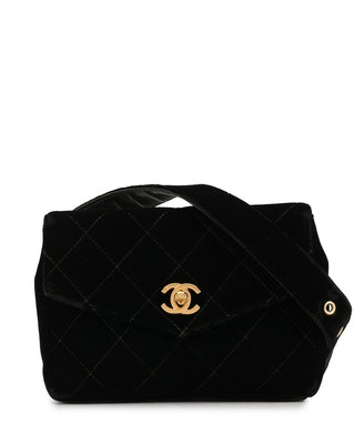Chanel Pre Owned Velvet Diamond Quilted Belt Bag