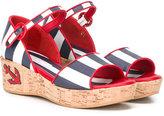 Dolce & Gabbana striped sandals - kids - Cork/Lamb Skin/Leather/rubber - 35