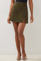 Blank NYC Ivy League Suede Mini Skirt Olive 24