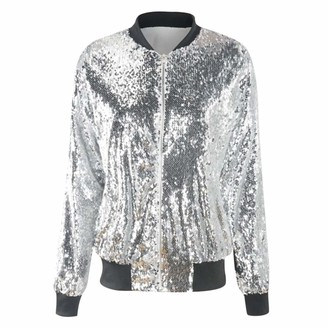 YYNUDA Womens Shiny Sequin Bomber Jacket Nightclub Party Sparkle Baseball Jacket Tops