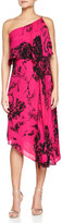Halston One-Shoulder Printed Asymmetric Dress