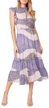BB Dakota All Mixed Up Mixed-Print Midi Dress