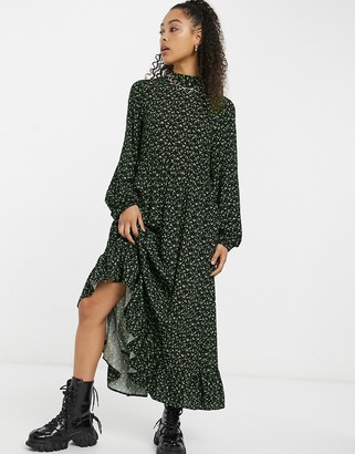 Vintage Supply maxi smock dress with tie neck in green smudge print