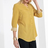Anne Weyburn Printed Draping Blouse with Grandad Neck and Long Sleeves