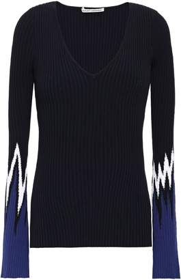 Autumn Cashmere Color-block Ribbed-knit Sweater