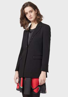 Emporio Armani Polyester Gabardine Single-Breasted Jacket With Baguette Studs