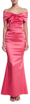 Talbot Runhof Off-The-Shoulder Pleated Gown, Shocking Pink