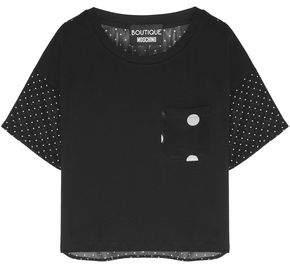 Moschino Polka-dot Chiffon And Cotton-jersey T-shirt