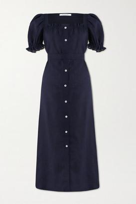 Sleeper Brigitte Belted Linen Midi Dress - Midnight blue