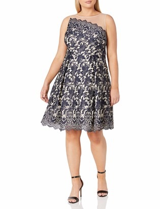 London Times Women's Plus Size Lace Fit & Flare Dress w. Illusion Neckline