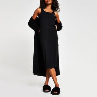 River Island Womens Black square neck column dress