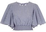 River Island Womens Blue stripe print frill sleeve crop top